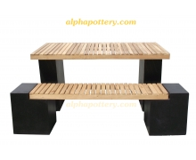 Tfur813 terrazzo rectanlge table+ 2 long bench black terrazzo & acacia wood top